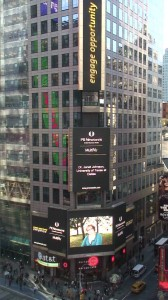 Featured on Times Square for her research on the 2012 Presidential Campaign
